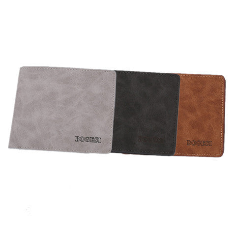 Matte  leather male short wallet - BoardwalkBuy - 1