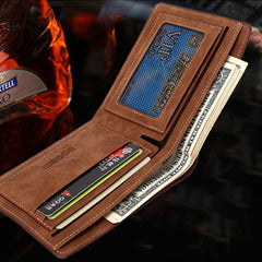 Matte  leather male short wallet - BoardwalkBuy - 3