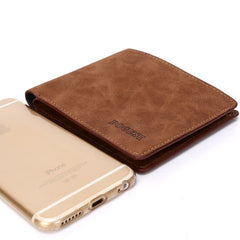 Matte  leather male short wallet - BoardwalkBuy - 8