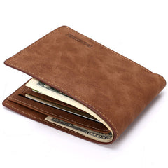 Matte  leather male short wallet - BoardwalkBuy - 9