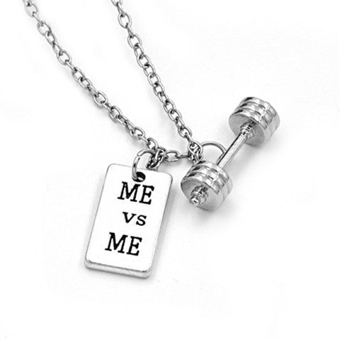 Me Vs. Me Barbell Necklace - BoardwalkBuy