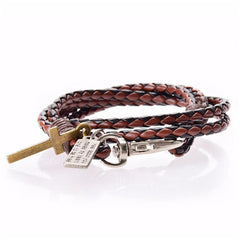 Men Leather Cross Bracelet - BoardwalkBuy - 5