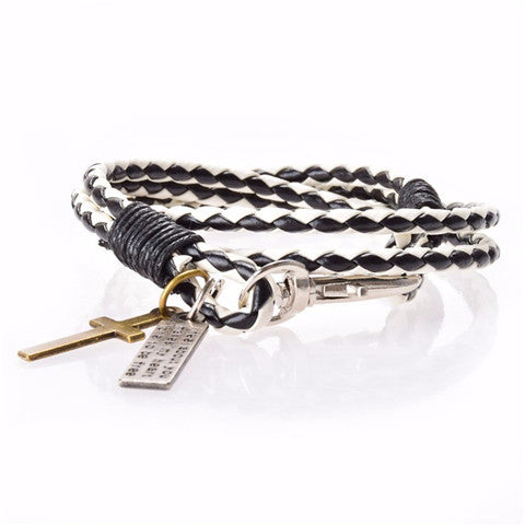 Men Leather Cross Bracelet - BoardwalkBuy - 1
