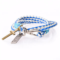 Men Leather Cross Bracelet - BoardwalkBuy - 3