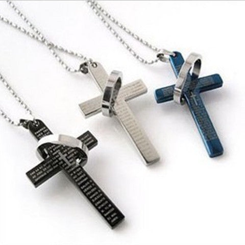 Men Prayer Cross Stainless Steel Necklace - BoardwalkBuy - 1