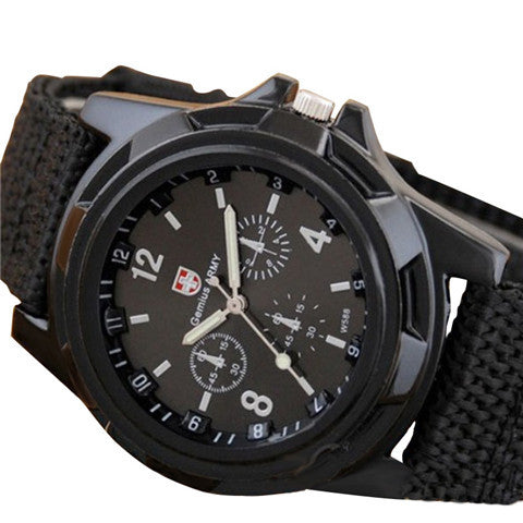 Mens Canvas Belt Luminous Wrist Watch