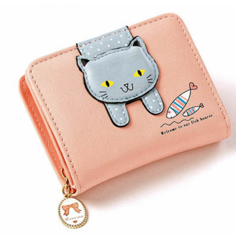 Women Cute Cat And Fish Wallet