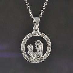 Mom and Baby Fully-Crystal Circle Necklace - BoardwalkBuy - 1