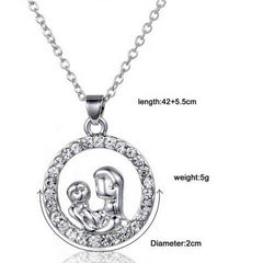 Mom and Baby Fully-Crystal Circle Necklace - BoardwalkBuy - 3