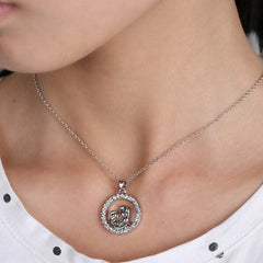 Mom and Baby Fully-Crystal Circle Necklace - BoardwalkBuy - 4