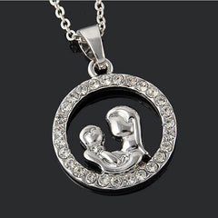Mom and Baby Fully-Crystal Circle Necklace - BoardwalkBuy - 2