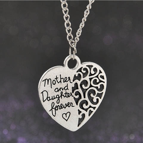 Mom and Daughter Love Piercing Heart Necklace - BoardwalkBuy - 1