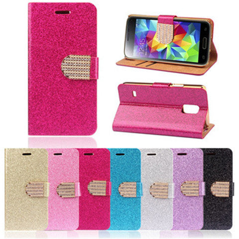 Bling Leather Stand Case for Samsung S5