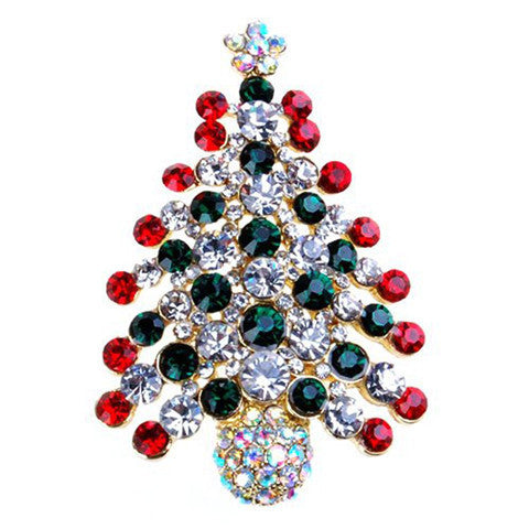 Multi-Colored Crystal Christmas Tree Brooch Pin
