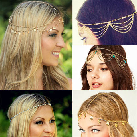 Multi Layer Metal Gold Plated Head Chain