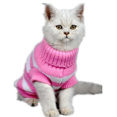 Striped Turtle-Neck Cat Sweater