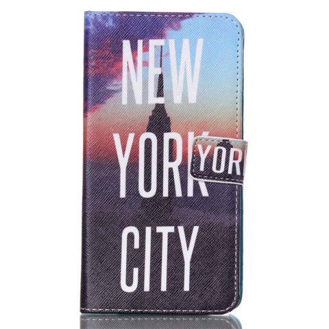 New York Stand Leather Case For Samsung note4 - BoardwalkBuy - 1