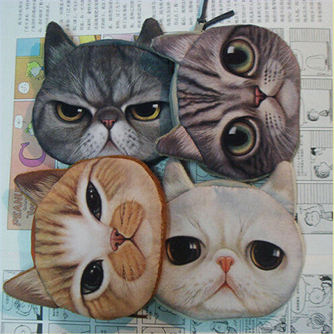 Mini Cat Animal Face Purse Coin Wallet