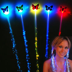 Flash led braid women's butterfly Hairpin decorations - BoardwalkBuy - 2