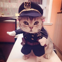 Pet Cat Dress Uniform Suit Police Clothes + Hat