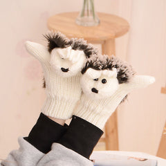 Funny cartoon hedgehog beautiful knitted gloves - BoardwalkBuy - 3