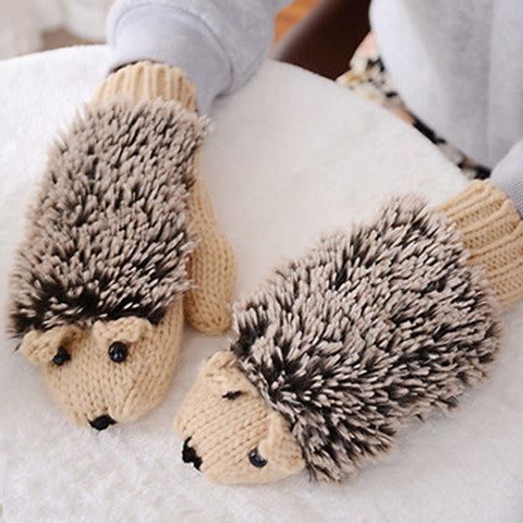 Funny cartoon hedgehog beautiful knitted gloves