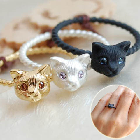 Metal Cut Cat Head Ring