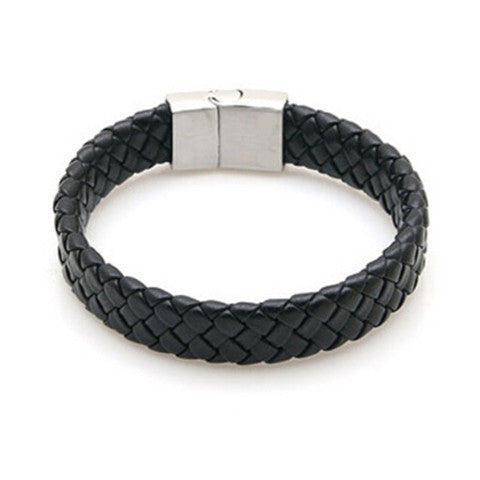 Leather Stainless Steel Bracelets Bangles