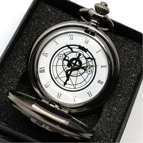 Silver Tone Fullmetal Alchemist Pocket Watch - Assorted Colors
