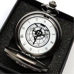 Silver Tone Fullmetal Alchemist Pocket Watch - Assorted Colors - BoardwalkBuy - 1