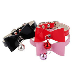 Pu Leather Bow Bell Collar Neck Chain For Small  Cats