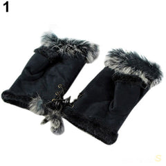 Rabbit Fur leather ladies finger gloves - BoardwalkBuy - 2