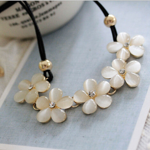 Opal Plum Flower Short Necklace