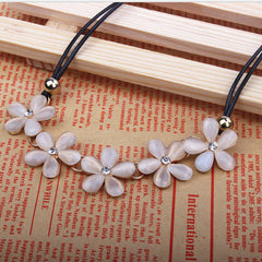 Opal Plum Flower Short Necklace - BoardwalkBuy - 3