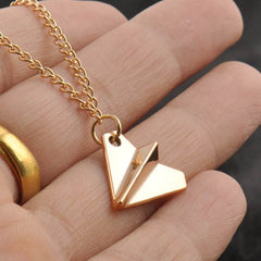 One Direction Harry Style Gold Ribbon Paper Airplane Pendant Necklace - BoardwalkBuy - 2