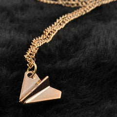 One Direction Harry Style Gold Ribbon Paper Airplane Pendant Necklace - BoardwalkBuy - 3