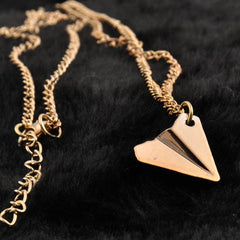 One Direction Harry Style Gold Ribbon Paper Airplane Pendant Necklace - BoardwalkBuy - 4