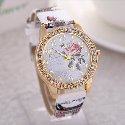 Peony Pattern Digital Quartz Casual Watch