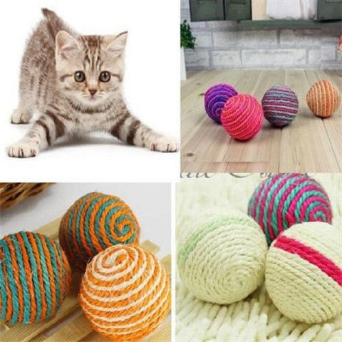Pet  Cat  Teaser Playing Chew Rattling Toys Rope Ball