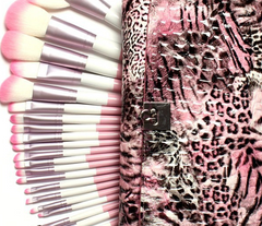24 Piece Pink Leopard Brush Set - BoardwalkBuy - 2
