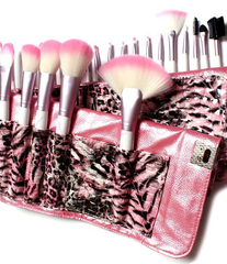 24 Piece Pink Leopard Brush Set - BoardwalkBuy - 1