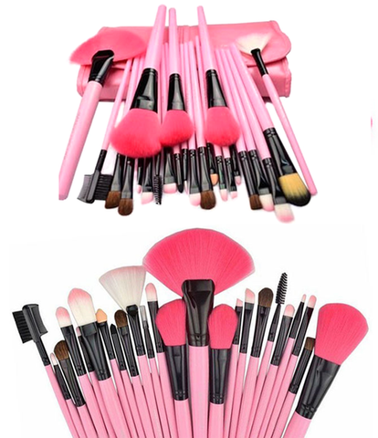 24 Piece Pink Glory Brush Set With Free Case