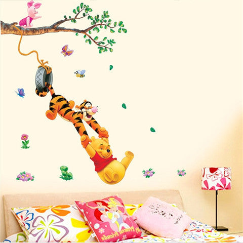 Pooh Bear and Tiger Cartoon Vinyl Wall Sticker - BoardwalkBuy