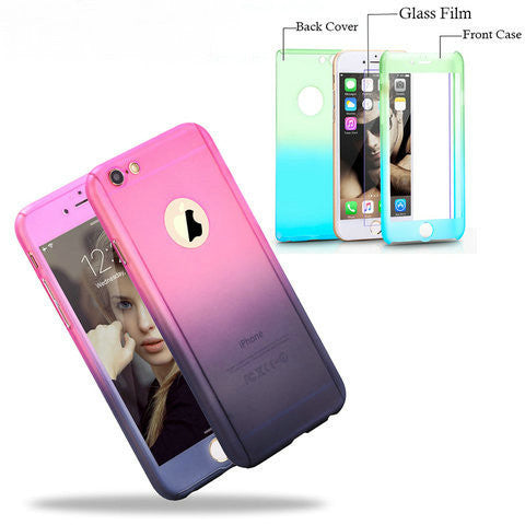 Gradient 360 Degree Protection Case w/ Tempered Glass For Iphone 6/6 plus