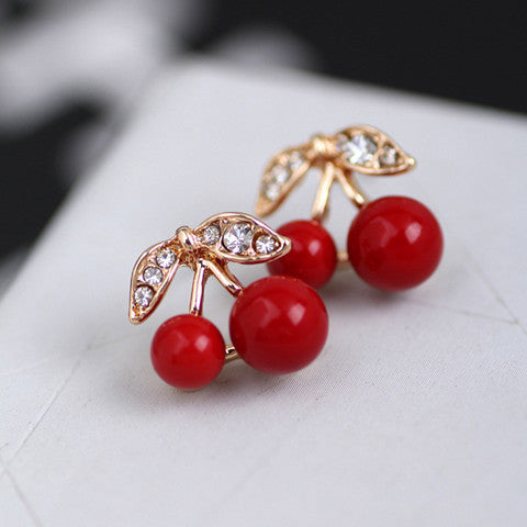 Red Cherry Stud Earrings