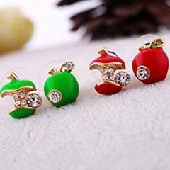 Red and Green Asymmetric Apple Earrings - BoardwalkBuy - 2