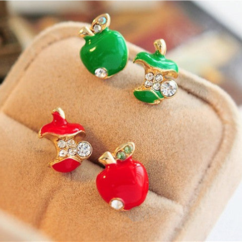 Red And Green Asymmetric Apple Earrings