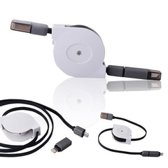 Retractable 2in1 Micro USB&Lightening Data Cable 1m - BoardwalkBuy - 3