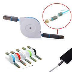 Retractable 2in1 Micro USB&Lightening Data Cable 1m - BoardwalkBuy - 1