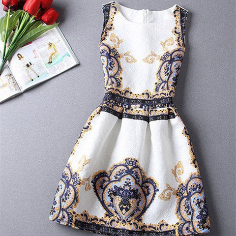Retro Crown Print Dress - BoardwalkBuy - 1